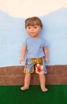 18 Inch Boy Doll Clothes, Swim Trunks, Boardshorts, Hawaiian Print Shorts, T-shirt, sized for 18 Inch Dolls, Made to Order