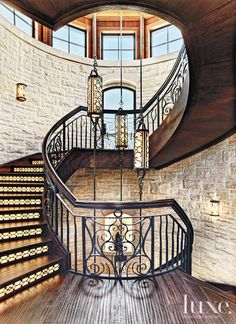 35+ Rooms with Stunning Staircases   LuxeDaily - Design Insight from the Editors of Luxe Interiors + Design Steel Stair Railing, Steel Stairs, Wrought Iron Stairs, Clerestory Windows, Railing Design, Stairway To Heaven, Stairways, Beautiful Homes, Beautiful Places