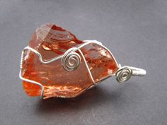 Andara Crystal Tangerine Solar Light Wrapped Pendant by YaMaEL | Healing Crystal Jewelry