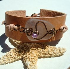 Sea Glass Braclet Seaglass Leather Slide Cuff by tidetotreasure, $27.00