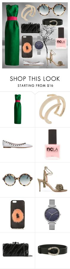 """fashion for women's"" by denisee-denisee ❤ liked on Polyvore featuring Oscar de la Renta, Jennifer Fisher, Valentino, ncLA, Cutler and Gross, Aquazzura, Fendi, Skagen, Dsquared2 and Gucci"