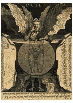 LUCIFER - The Devil at centre, with three faces and three pairs of wings…