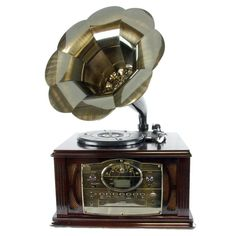 Back to The 50s Executive Antique Trumpet Horn Turntable-Phonograph with encode function