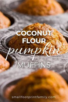 Gluten free - Paleo - Sugar free - Vegetarian - This delicious recipe for coconut flour pumpkin muffins contain a modicum of nutrition, owing to the many eggs, nuts and veggies you can include in them. Muffins Sans Gluten, Dessert Sans Gluten, Paleo Dessert, Dessert Recipes, Gluten Free Baking, Healthy Baking, Gluten Free Recipes, Low Carb Recipes, Healthy Recipes