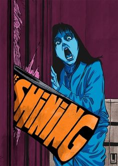 The Shining by Louie Joyce, horror style illustration with text play and stark colours