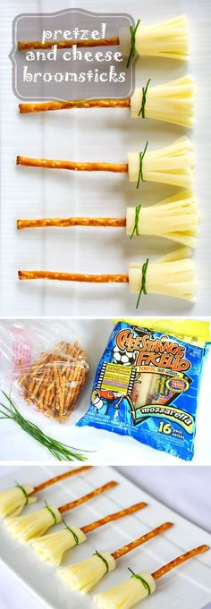 Halloween Treat: Cheese and Pretzel Broomsticks. These are so easy and such a…