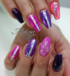 Black And Purple Nails, Amazing, Beauty, Beauty Illustration