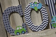 Custom Nursery Wooden Letters, Baby Nursery - Transportation Theme Custom Letters (airplane, train, car, sailboat) - 9 Inch Size