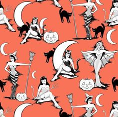 Pinup Witches Fabric – Vintage Halloween Pinups In Pumpkin Orange By Beesocks – Halloween Retro Cotton Fabric By The Yard With Spoonflower Halloween-Kunst! Retro Halloween, Halloween Tags, Halloween Kunst, Fall Halloween, Halloween Crafts, Halloween Costumes, Halloween Witches, Halloween Halloween, Cute Halloween Drawings