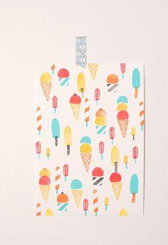 Ice creams hand printed illustration