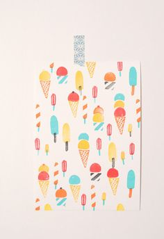 Ice creams- hand printed illustration made with hand carved rubber stamps.