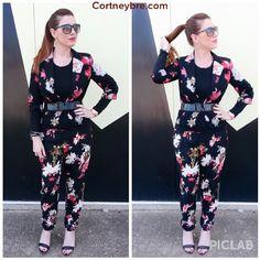 Nothing says Spring like a floral jump suit!  CORTNEYBRE.COM  Jacket: Worthington-JCPenney Pants: LOFT Heels: BCBG Generation Sunnies: Franco Sarto  Bracelet: Selena's Collection  #fashion #fashionblogger #fashionista #FBLOGGER #styleblogger #style #STREETSTYLE #STREETCHIC #Jcp #loft #LOVELOFT