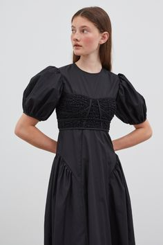 Clementine   Cecilie Bahnsen - Official website & online store Timeless Fashion, French Fashion, Bustier Dress, Black Fabric, Classic White, Everyday Look, Size Model, Ready To Wear, Feminine