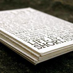 The Hostee manifesto. Typ att livet är för kort för att göra saker man inte gillar osv.. Pappret består dock av 50% elefantskit (?!) eh...