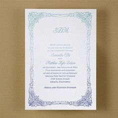 Fascinating Frame in Ombre #Letterpress #Wedding #Invitation