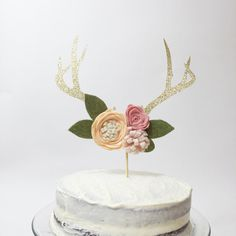 Hey, I found this really awesome Etsy listing at https://www.etsy.com/listing/291013223/antler-floral-cake-topper-boho-chic-deer