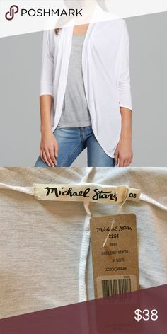 New Michael Stars Cardigan Michael Stars Cocoon Cardigan is the perfect light weight cardi. Very comfy and classic!   95% Rayon, 5% Spandex Machine wash cold with like colors, Gently cycle Tumble dry low Made in USA Michael Stars Sweaters Cardigans