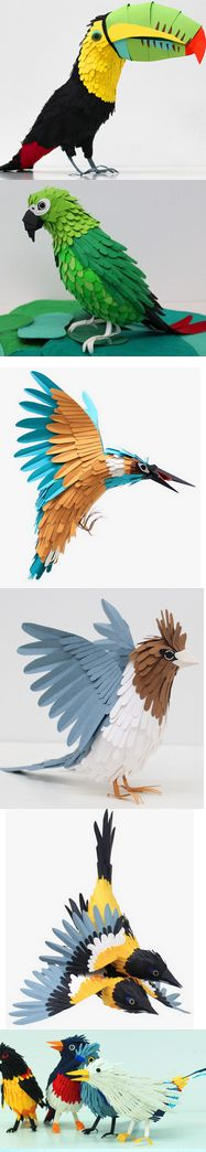 Papierkunst - Enjoy these vibrant paper-crafted sculptures by Colombian artist Diana Beltran Herrera. Kirigami, Origami Paper Art, Paper Crafts, Origami Birds, Origami Animals, Paper Birds, Paper Flowers, Architecture Origami, Creation Art