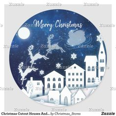 Christmas Cutout Houses And Santa At Night Classic Round Sticker