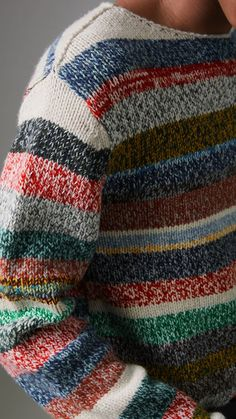 A Merino wool sweater knitted in multicoloured stripes with a wide neckline. The soft mouliné yarn lends a marble-effect finish. Mens Knit Sweater, Merino Wool Sweater, Wool Sweaters, Burberry, Matching Sweaters, Sweater Knitting Patterns, Vintage Sweaters, Bunt, Knitted Hats