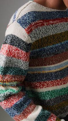 Striped Merino Wool Mouliné Sweater in Multicolour - Men | Burberry United States