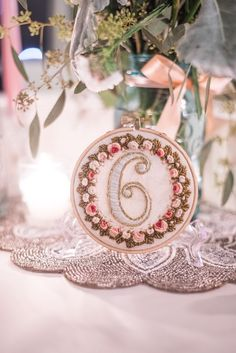 DIY embroidered table numbers