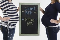 Best friend pregnancy photo. Current BFFs with future BFFs in the womb. So cute!