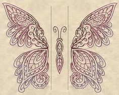 Embroidery Designs at Urban Threads - Mendhika Butterfly (Split) Beaded Embroidery, Embroidery Stitches, Embroidery Patterns, Hand Embroidery, Machine Embroidery, Embroidery Tattoo, Embroidery Files, Lace Butterfly Tattoo, Lace Tattoo