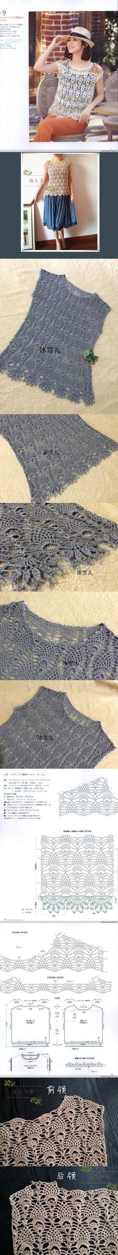 Crochet Top with Pineapple stitch - 类: 女士夏钩衫 标签:罗莎琳达爱尔兰蕾丝 鱼 举报 字