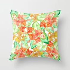 Succulent flowers Throw Pillow by NellA(c)ne - Art & Design - Cover x with pillow insert - Indoor Pillow Floor Pillows, Throw Pillows, Wall Murals, Wall Art, Art Design, Arabesque, Decoration, Tech Accessories, Wall Tapestry