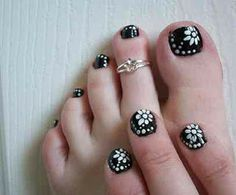 Black toe nail art with white free hand flowers and polka dots, easy free hand floral pedicure nail art Cute Toenail Designs, Nail Designs Pictures, Simple Nail Art Designs, Short Nail Designs, Toe Nail Designs, Easy Nail Art, Nails Design, Nail Pictures, Cute Toe Nails