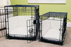 Dog Crate Bumper Pads Sewing Pattern from kevinandamanda.com   Great for dogs that have got past the chewing stage