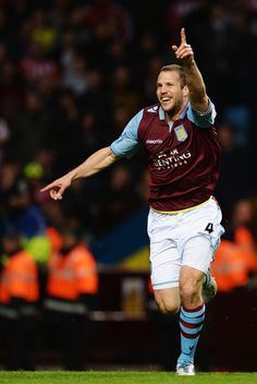 ~ Ron Vlaar of Aston Villa celebrating his goal against Sunderland AFC ~