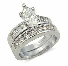 CZ Wedding Rings - Marquise Cut Silver Tone CZ Wedding Ring Set #GL04 Mai Jewelry Shop & Hair Accessories. $17.84