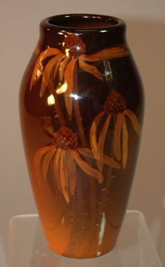 Rookwood Pottery standard glaze vase, dated 1906, shape 925E by Alice Willets, Black-eye Susan decoration, x'd probably due to minor glaze bubbles, but great floral decoration by artist who was only at Rookwood for a year.