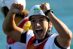 2016 Rio Olympics - Canoe Slalom - Final - Women's Kayak (K1) Final - Whitewater Stadium - Rio de Janeiro, Brazil - 11/08/2016. Maialen Chourraut (ESP) of Spain celebrates winning the gold. REUTERS/Ivan Alvarado FOR EDITORIAL USE ONLY. NOT FOR SALE FOR MARKETING OR ADVERTISING CAMPAIGNS....