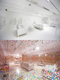 Gallery of Modern Art - The Obliteration Room. Guests can place stickers wherever they want in this piece of art.