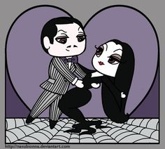 OK, I do not pretend to be any sort of expert at the chibi style, but it's still fun to take a swing at it every rare once in awhile. Chibi-Attempt Valentine: Gomez and Morticia Addams Family Tv Show, Adams Family, Cartoon Familie, Gomez And Morticia, Morticia Addams, Nightmare Before Christmas Tattoo, Tim Burton Characters, Emo Art, Victorian Goth