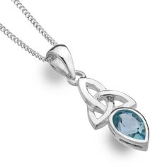 Celtic trinity knot Aquamarine blue topaz - Sterling silver pendant from the Sea Gems Celtic Lands collection This pendant is available as a pendant