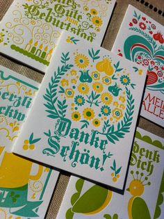 Letterpress greetings auf Deutsch from an Atlanta studio