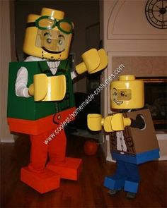 Homemade Clutch and Bernie Lego Men Father and Son Halloween Costumes - used foam board and said the project took him, an engineer, 40 hours to complete.