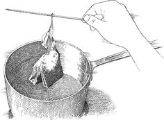 Tie tea bags around a chop stick to make large brewing easier!  place chopstick across glass pitcher to brew