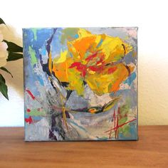Yellow Poppy Original Contemporary Palette Knife Acrylic Painting 6x6 inches Canvas by Anne Thouthip Free Shipping To US Address by AnneThouthipFineArt on Etsy
