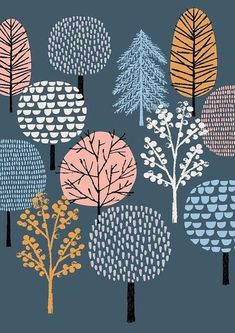 New for Eloise Renouf, Woodland, limited edition giclee print. New for Tree Illustration, Pattern Illustration, Woodland Illustration, Henna Tattoo Muster, Textures Patterns, Print Patterns, Tree Patterns, Surface Pattern Design, Art Plastique