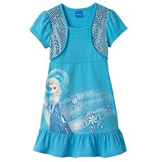 Disney Frozen Elsa MockLayer Bolero Dress Turquoise Size 4 ** Check this awesome product by going to the link at the image. (This is an affiliate link) #BabyGirlDresses