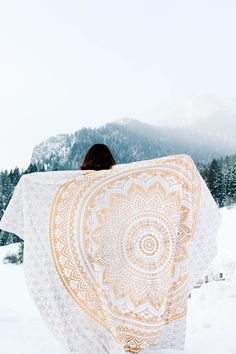 Let's adventure in beautiful winter mountains of Utah ☽ ✩ Save 25% off all orders with code PINTERESTXO at checkout | Gold Gypsy Goddess Mandala Tapestry by Lady Scorpio | Model Tara Campbell | Photography by @luna8lue | Shop Now LadyScorpio101.com | @LadyScorpio101