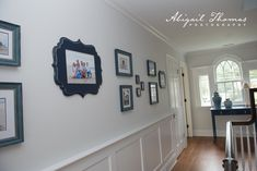 AFTER: Custom collection - a mix of Organic Bloom in navy and custom frames from Juxtapose Gallery in Westfield, NJ. Click around to find the before that we did with paper and proof prints! Custom Framing, Frames, Gallery Wall, Bloom, Organic, House Design, Navy, Paper, Prints