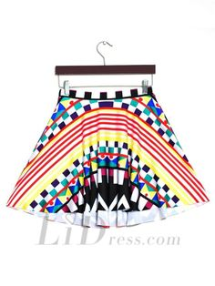 Hot Selling Color Digital Print Pleated Skirts Skt1201