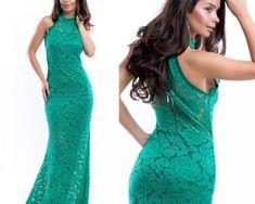 Rochie de seara lunga verde din dantela Backless, Formal Dresses, Fashion, Green, Dresses For Formal, Moda, Formal Gowns, Fashion Styles, Formal Dress