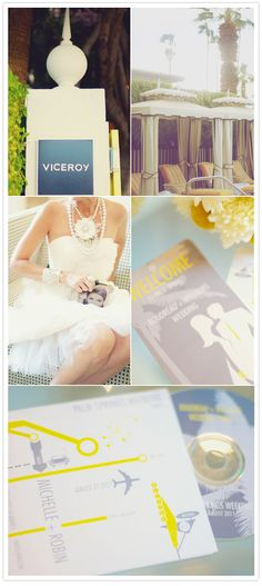 Custom welcome cards and CD cases with Viceroy Palm Springs' yellow get guests excited for the main event. #viceroy #wedding